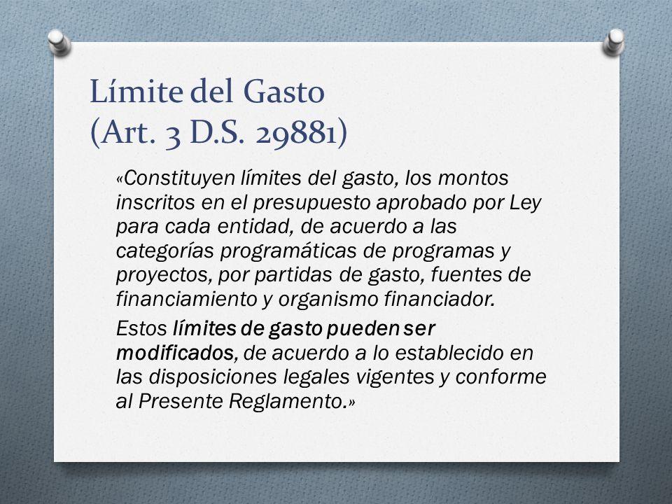 Límite del Gasto (Art. 3 D.S. 29881)
