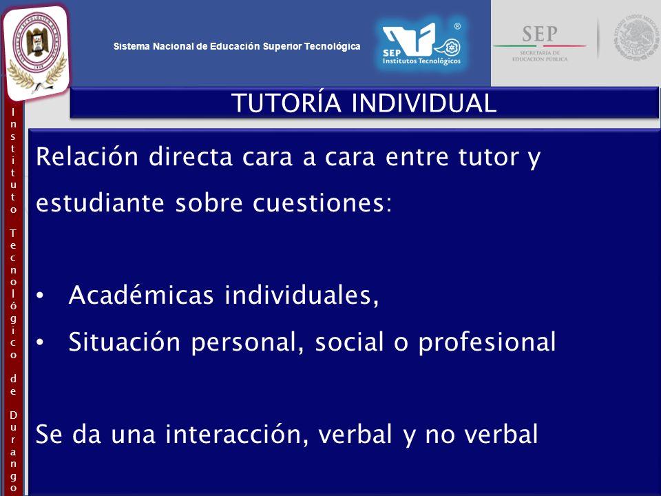 TUTORÍA INDIVIDUAL Relación directa cara a cara entre tutor y estudiante sobre cuestiones: Académicas individuales,