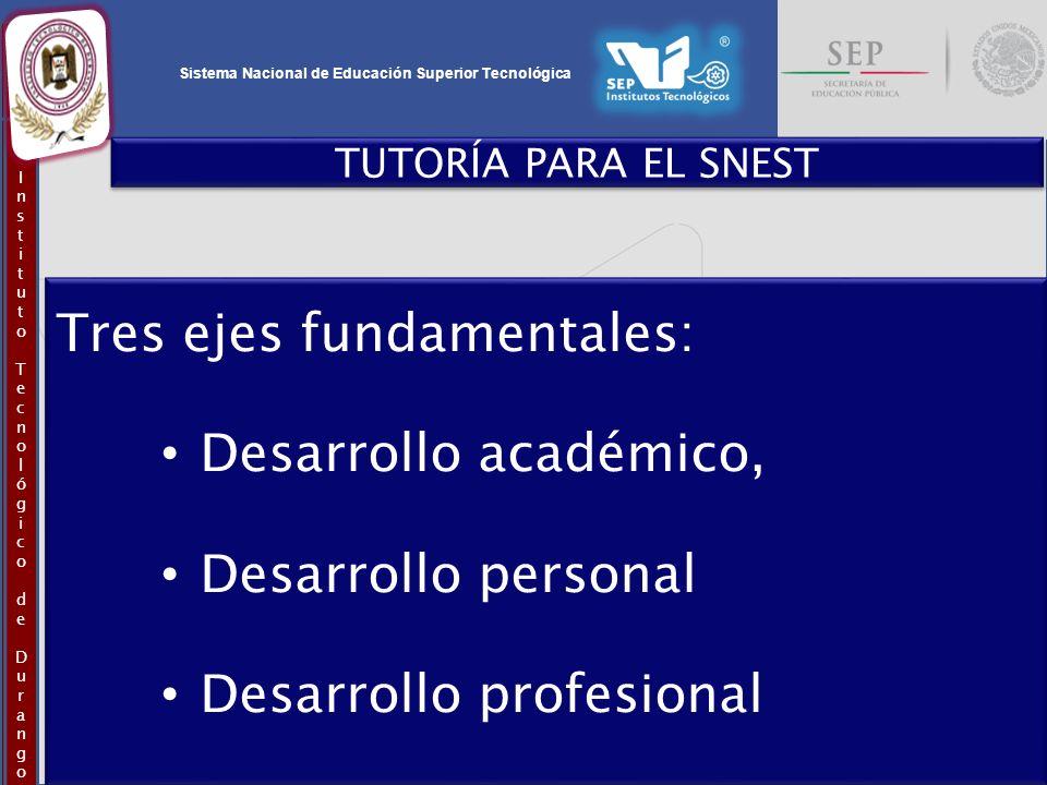 Tres ejes fundamentales: Desarrollo académico, Desarrollo personal
