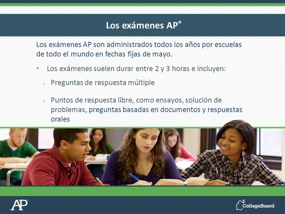 Los exámenes AP®Los exámenes AP son administrados todos los años por escuelas de todo el mundo en fechas fijas de mayo.
