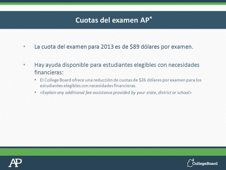 Cuotas del examen AP®La cuota del examen para 2013 es de $89 dólares por examen.