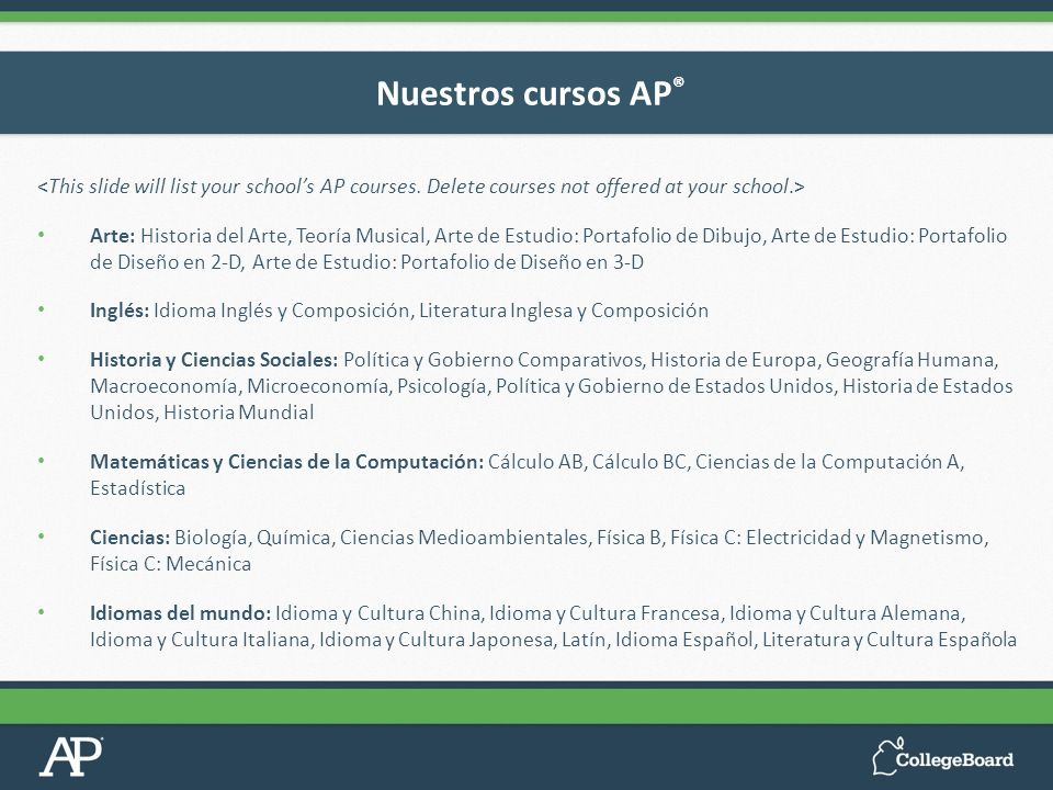 Nuestros cursos AP®<This slide will list your school's AP courses. Delete courses not offered at your school.>