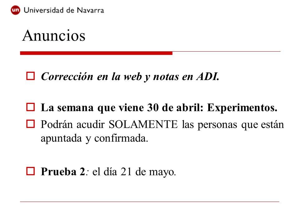 Anuncios Corrección en la web y notas en ADI.