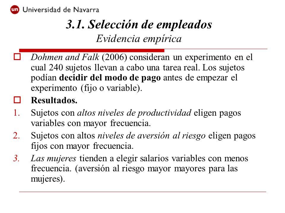 3.1. Selección de empleados Evidencia empírica