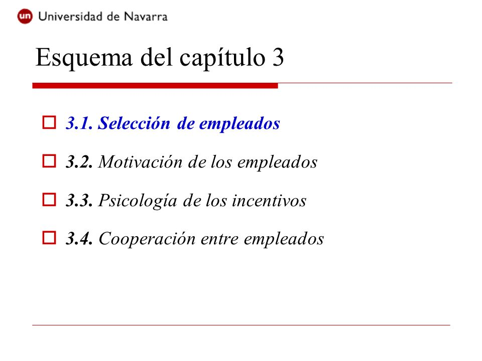 Esquema del capítulo 3 3.1. Selección de empleados