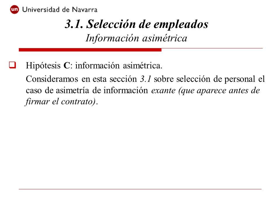 3.1. Selección de empleados Información asimétrica