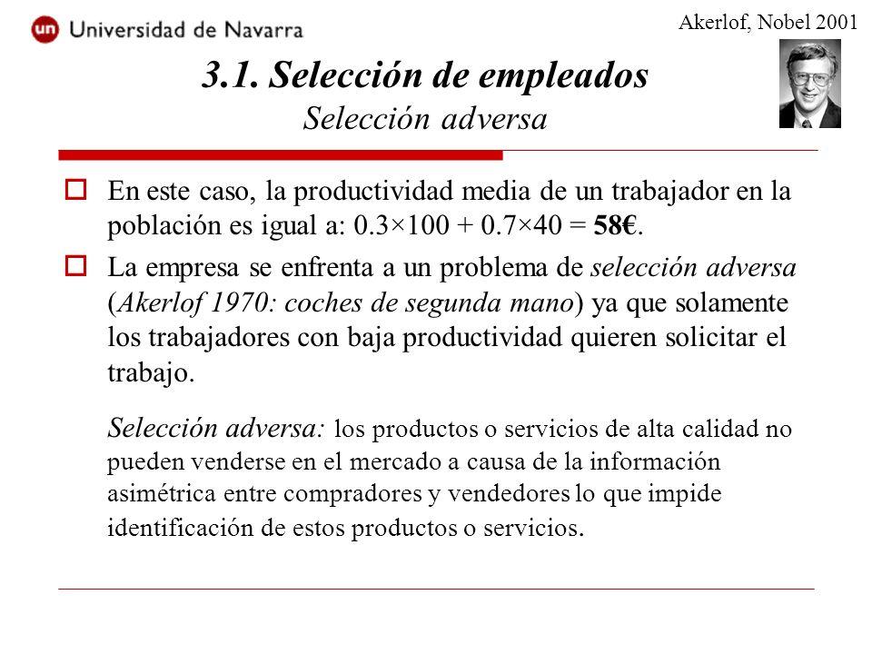 3.1. Selección de empleados Selección adversa