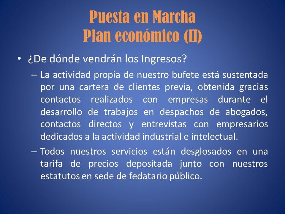 Puesta en Marcha Plan económico (II)