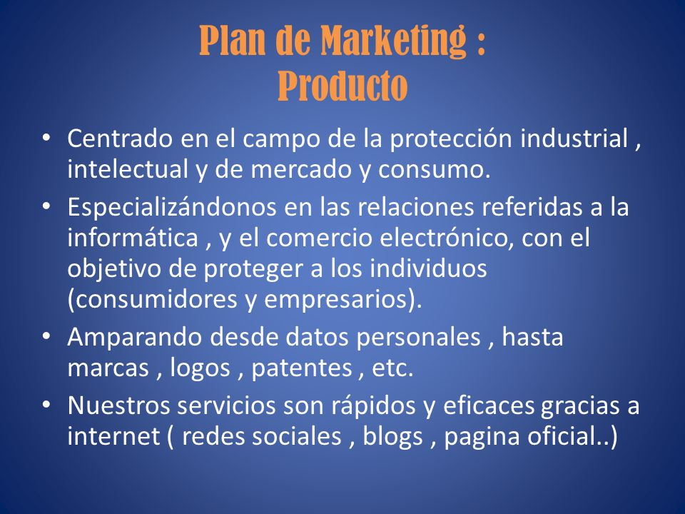 Plan de Marketing : Producto