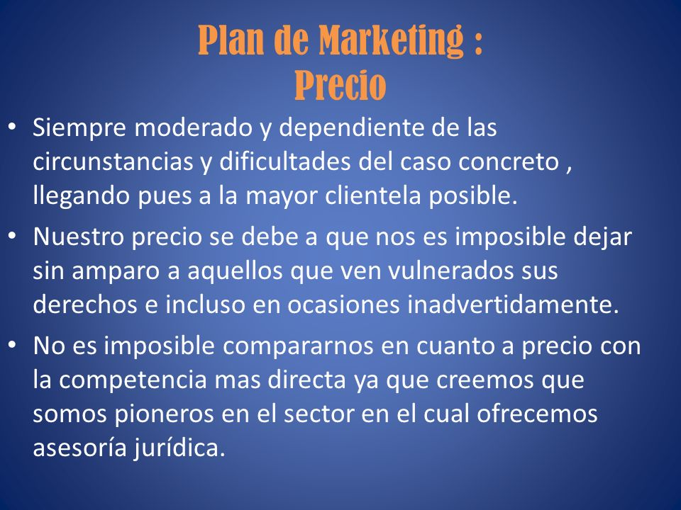 Plan de Marketing : Precio
