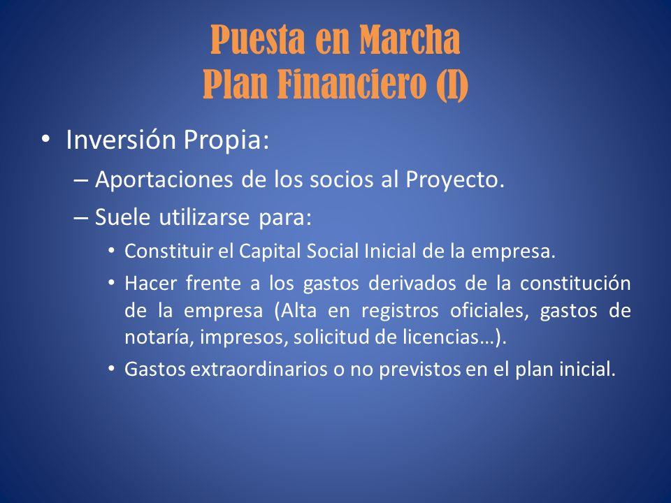 Puesta en Marcha Plan Financiero (I)