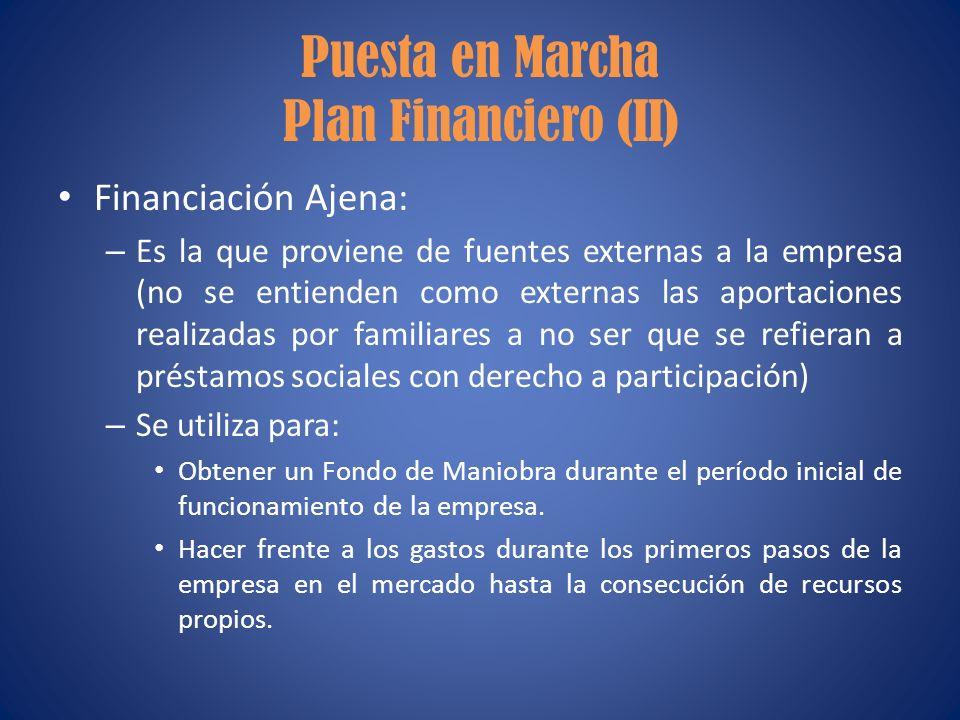 Puesta en Marcha Plan Financiero (II)