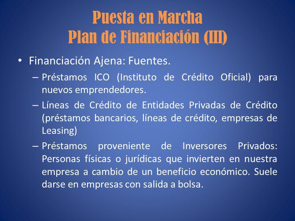 Puesta en Marcha Plan de Financiación (III)