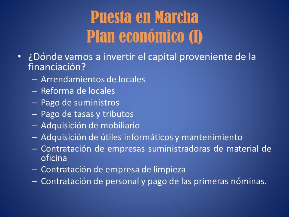 Puesta en Marcha Plan económico (I)