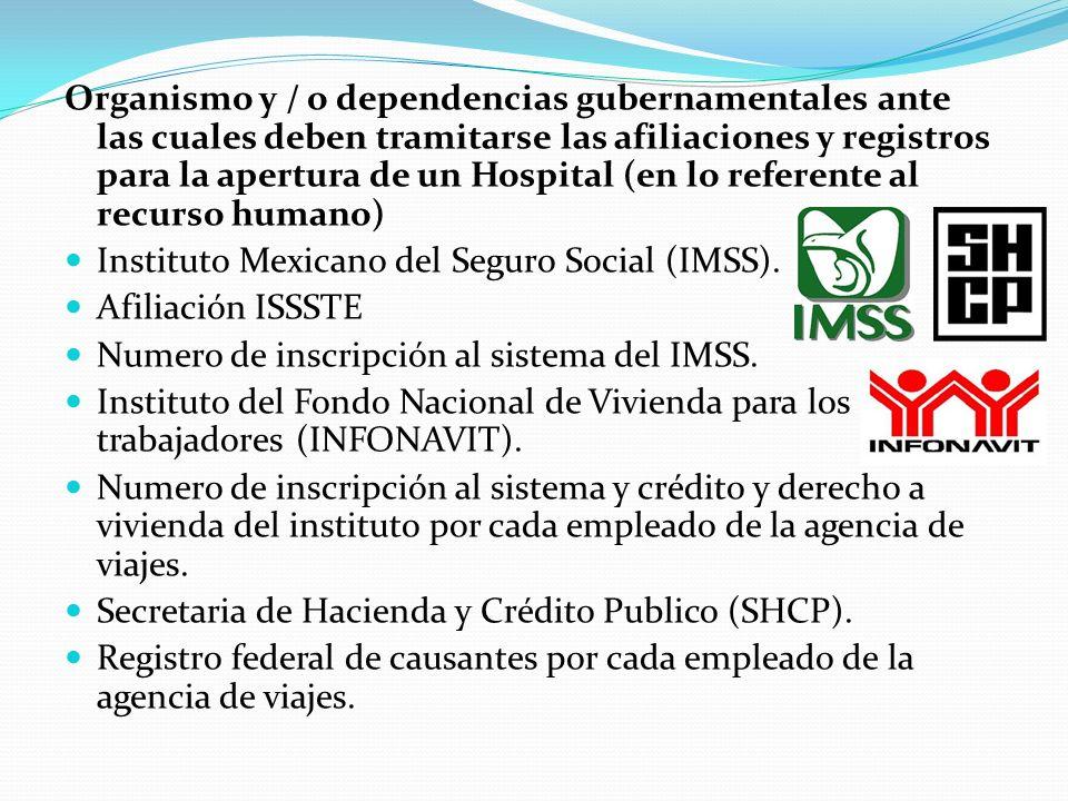 Organismo y / o dependencias gubernamentales ante las cuales deben tramitarse las afiliaciones y registros para la apertura de un Hospital (en lo referente al recurso humano)