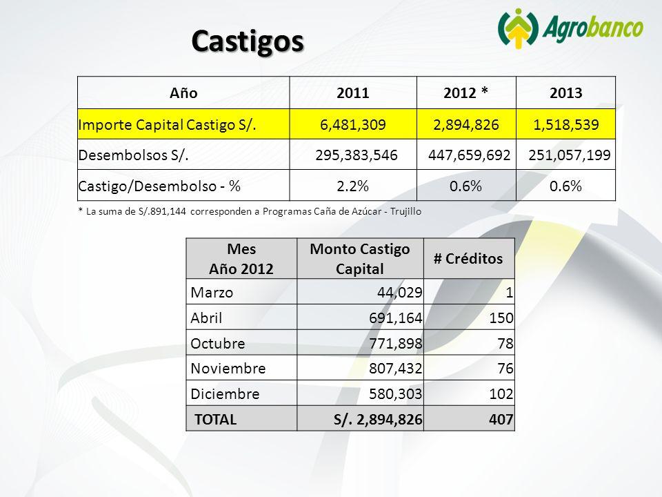 Castigos Año 2011 2012 * 2013 Importe Capital Castigo S/. 6,481,309