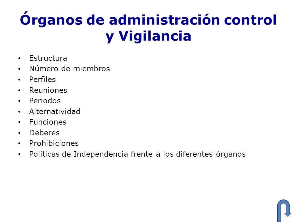 Órganos de administración control y Vigilancia