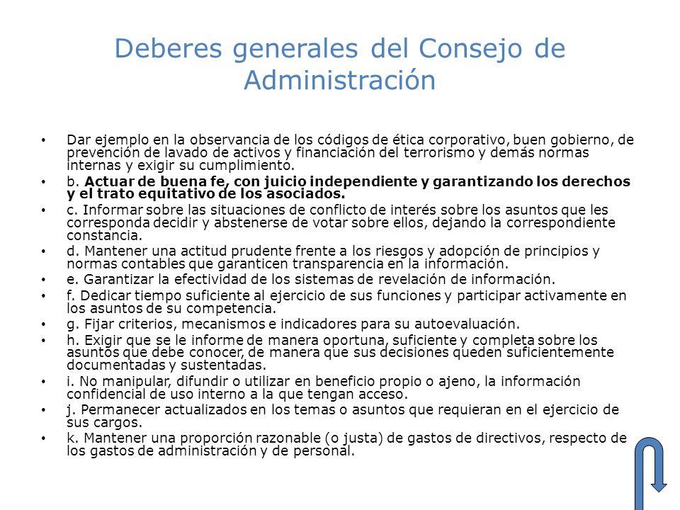 Deberes generales del Consejo de Administración
