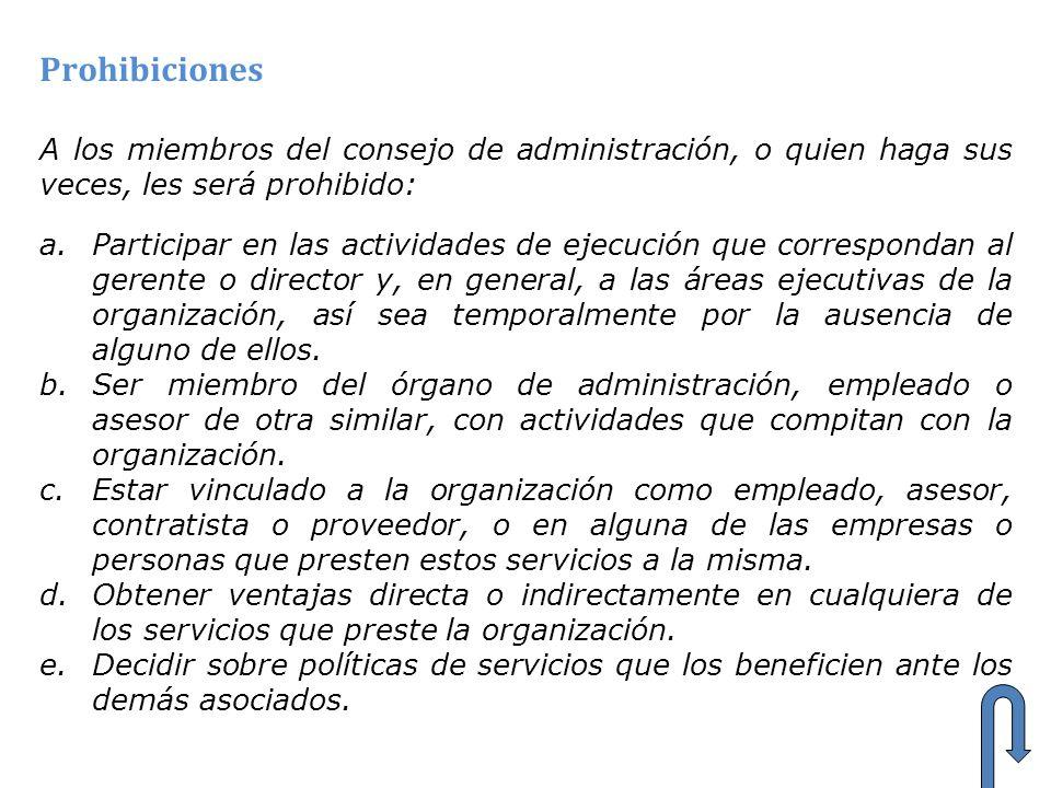 Prohibiciones A los miembros del consejo de administración, o quien haga sus veces, les será prohibido: