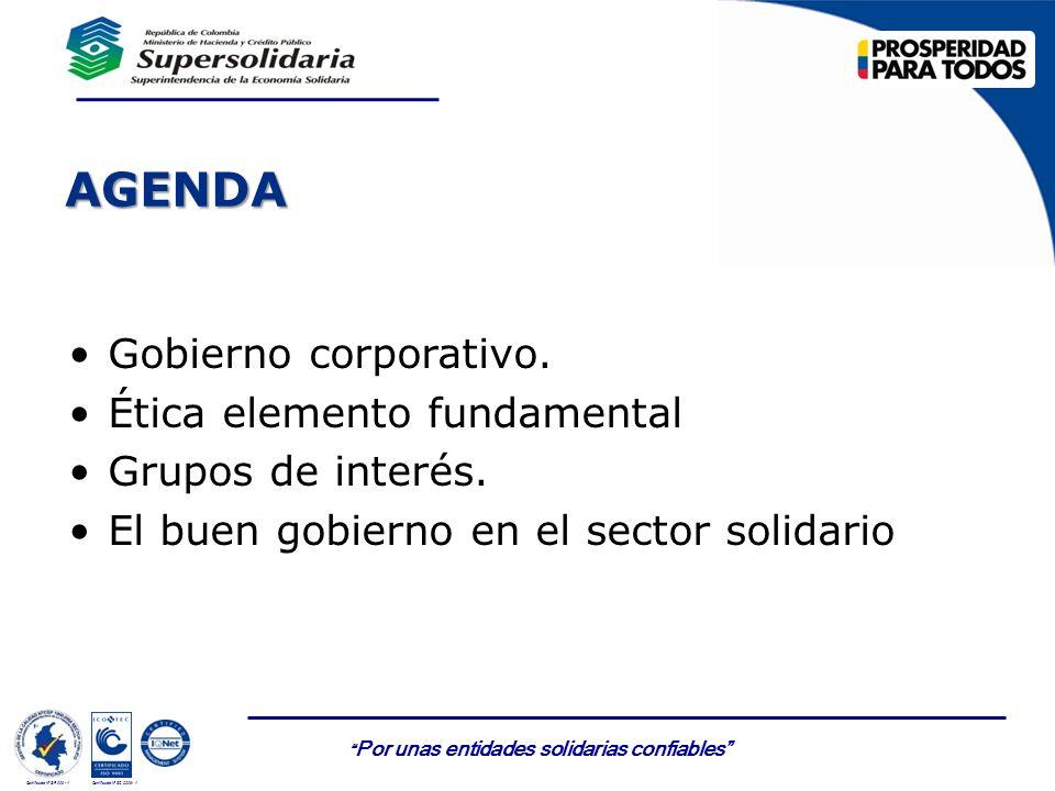 AGENDA Gobierno corporativo. Ética elemento fundamental