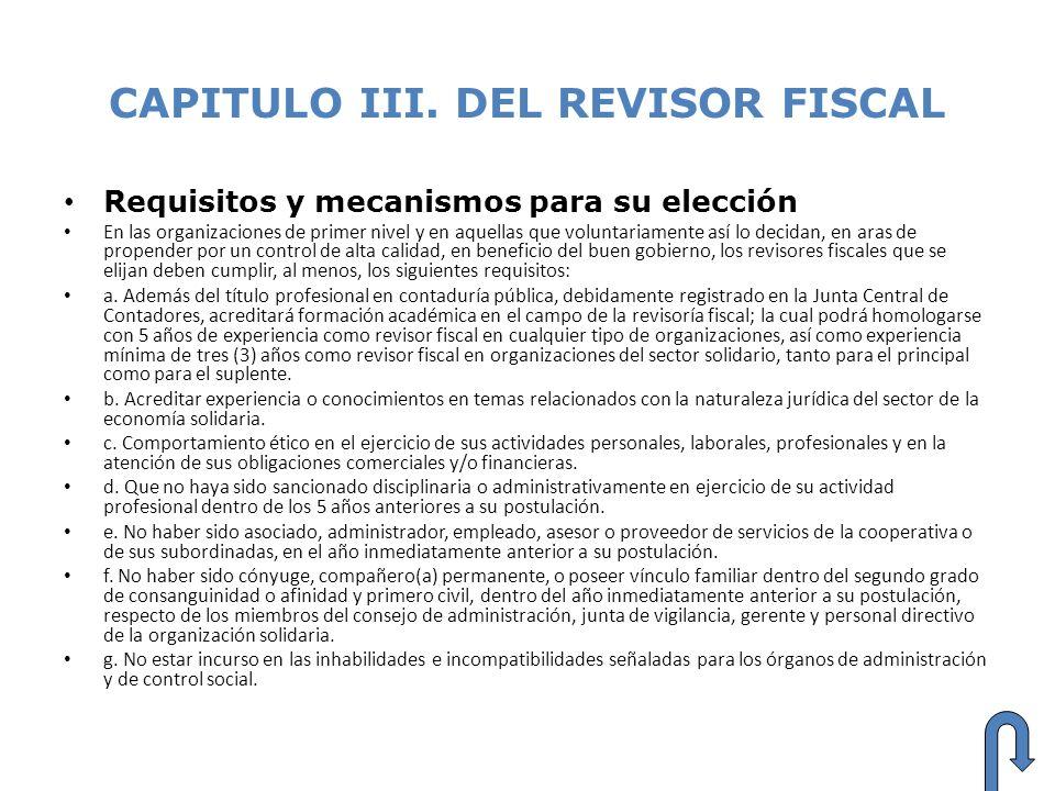 CAPITULO III. DEL REVISOR FISCAL