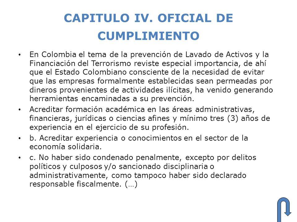 CAPITULO IV. OFICIAL DE CUMPLIMIENTO