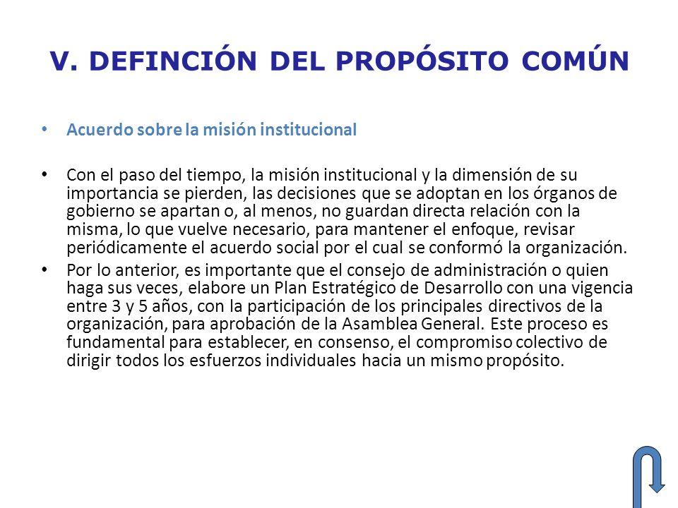 V. DEFINCIÓN DEL PROPÓSITO COMÚN