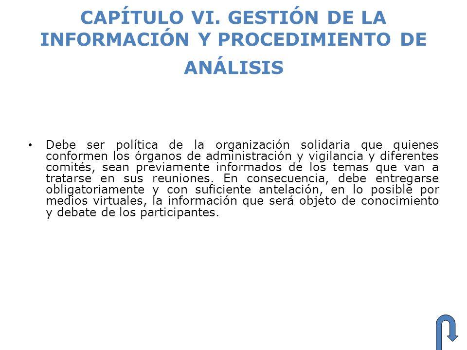 CAPÍTULO VI. GESTIÓN DE LA INFORMACIÓN Y PROCEDIMIENTO DE ANÁLISIS