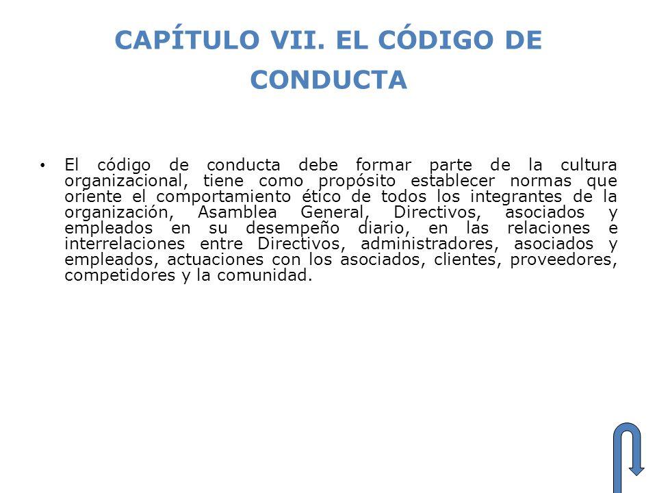 CAPÍTULO VII. EL CÓDIGO DE CONDUCTA