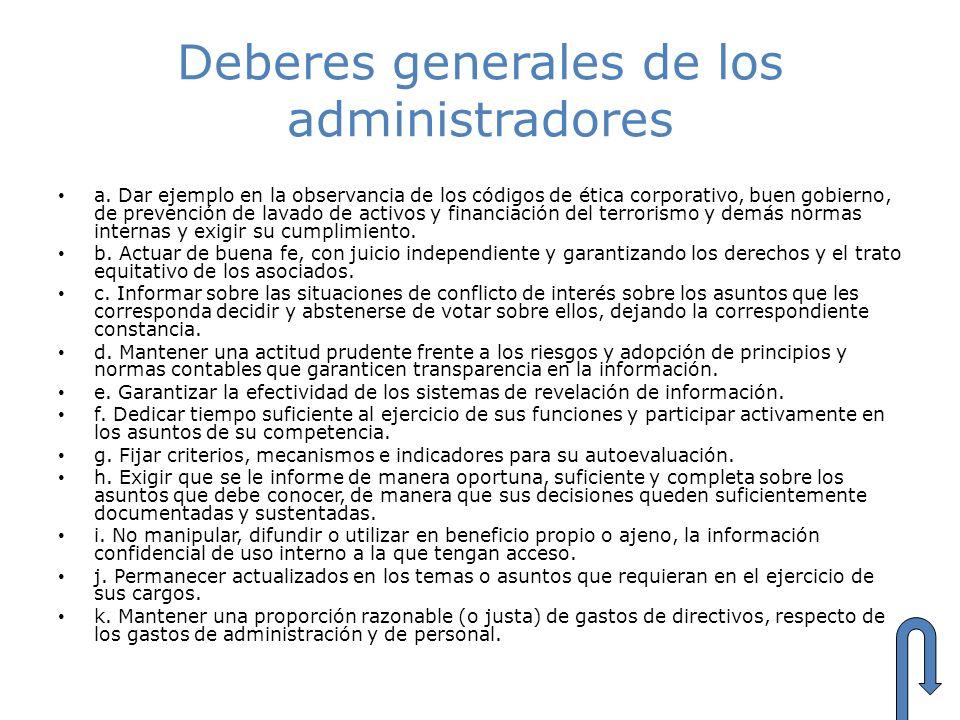 Deberes generales de los administradores