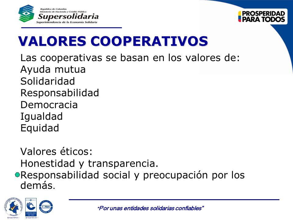 VALORES COOPERATIVOS Las cooperativas se basan en los valores de:
