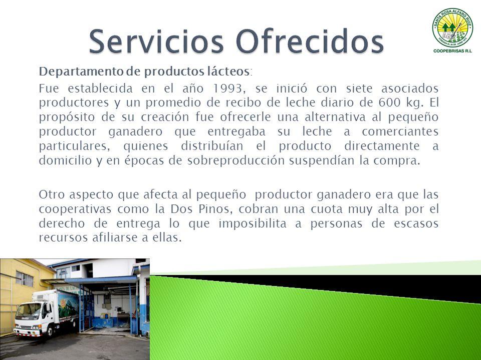 Servicios Ofrecidos Departamento de productos lácteos: