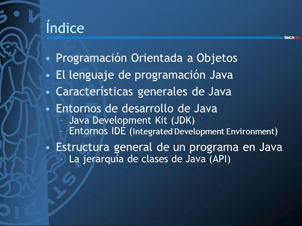 Índice Programación Orientada a Objetos