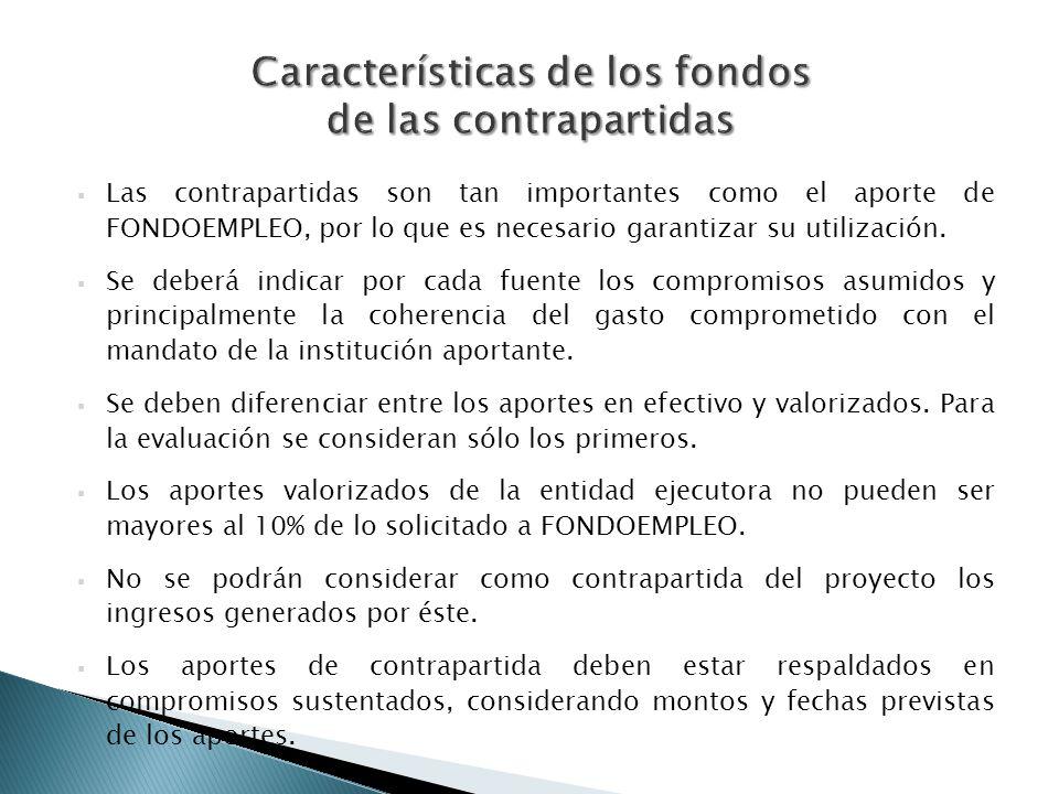 Características de los fondos de las contrapartidas