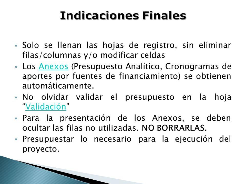 Indicaciones Finales Solo se llenan las hojas de registro, sin eliminar filas/columnas y/o modificar celdas.