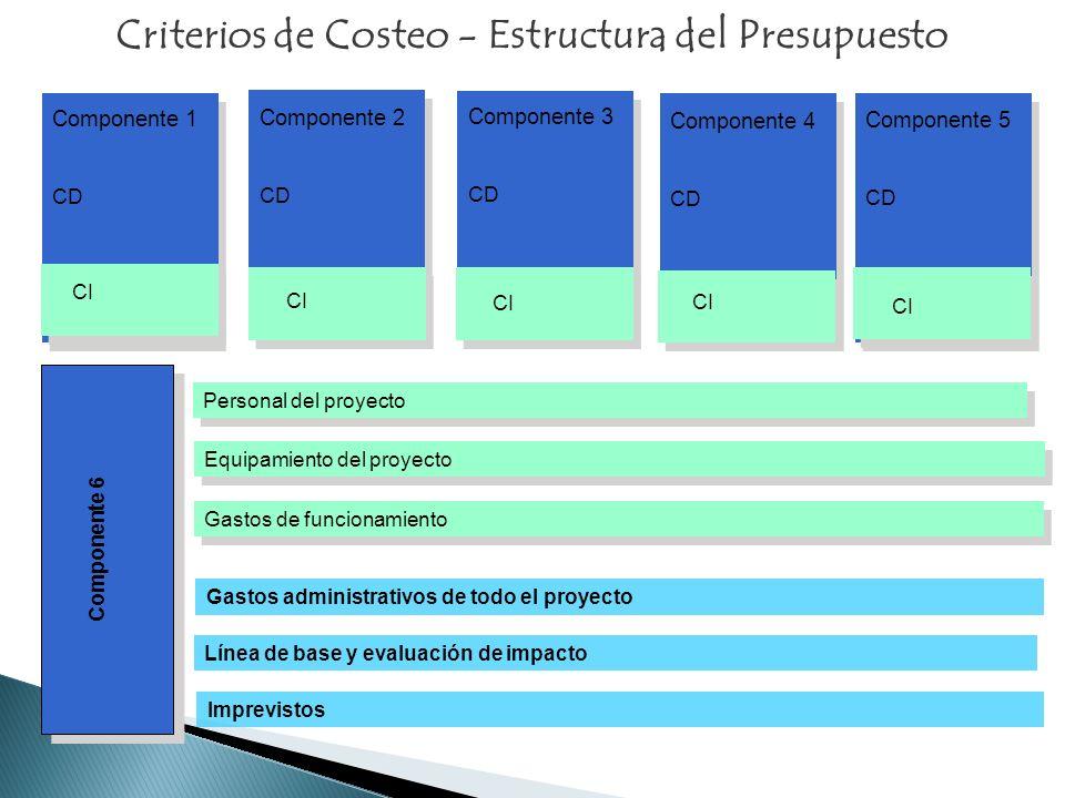 Criterios de Costeo - Estructura del Presupuesto