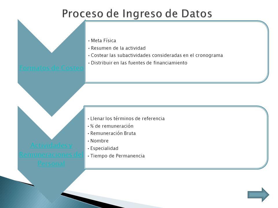 Proceso de Ingreso de Datos