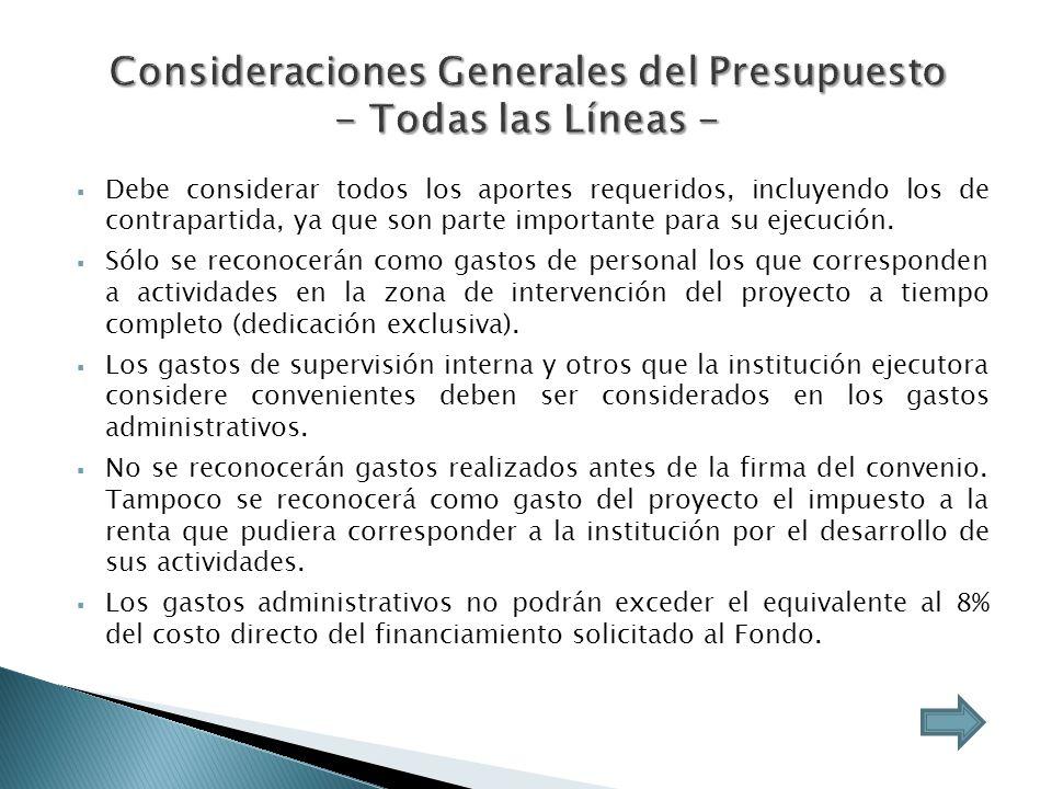 Consideraciones Generales del Presupuesto - Todas las Líneas -