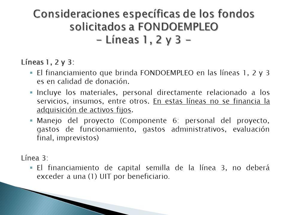 Consideraciones específicas de los fondos solicitados a FONDOEMPLEO - Líneas 1, 2 y 3 -