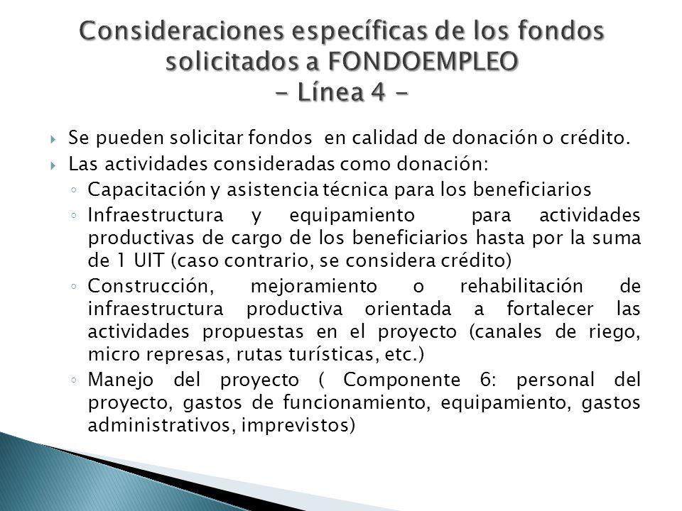 Consideraciones específicas de los fondos solicitados a FONDOEMPLEO - Línea 4 -