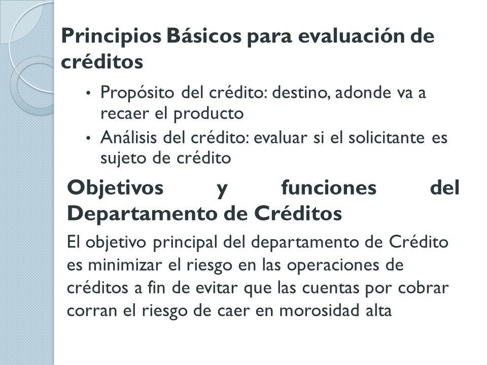 Principios Básicos para evaluación de créditos