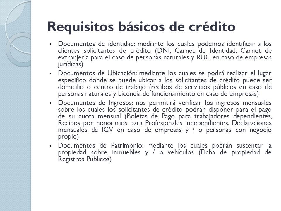 Requisitos básicos de crédito