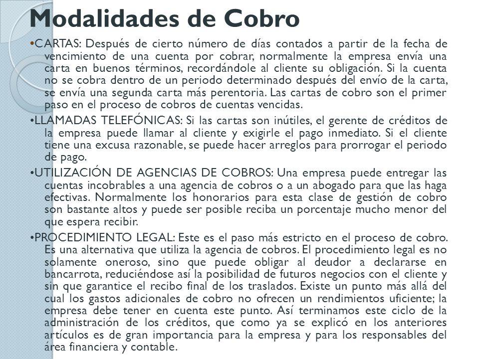 Modalidades de Cobro