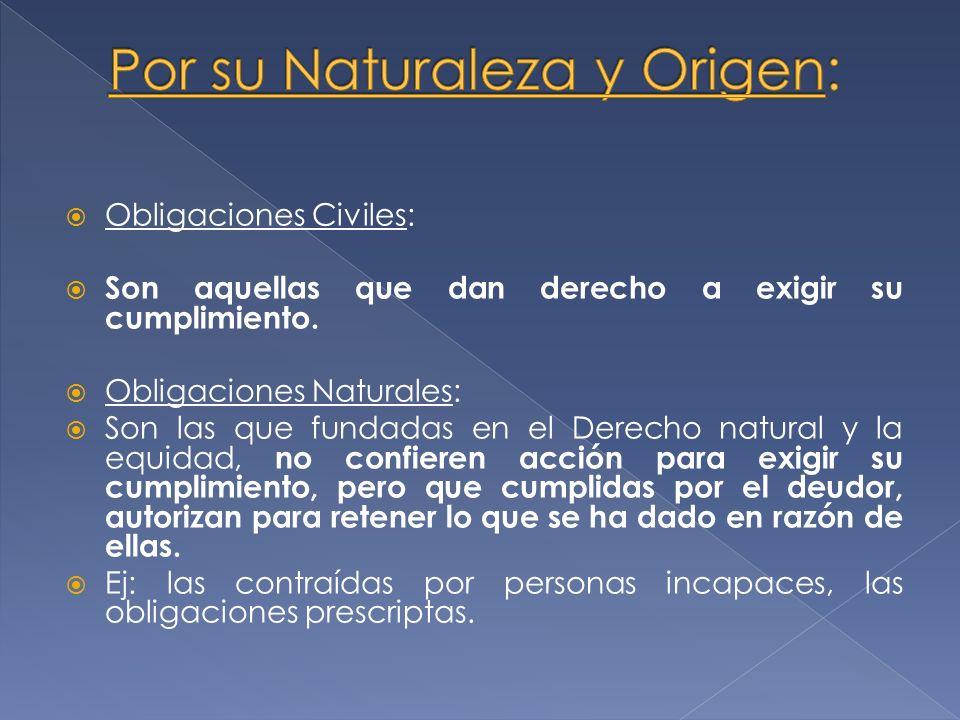 Por su Naturaleza y Origen: