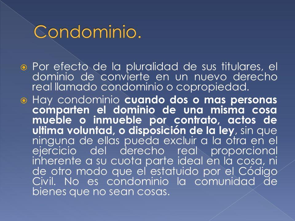 Condominio. Por efecto de la pluralidad de sus titulares, el dominio de convierte en un nuevo derecho real llamado condominio o copropiedad.