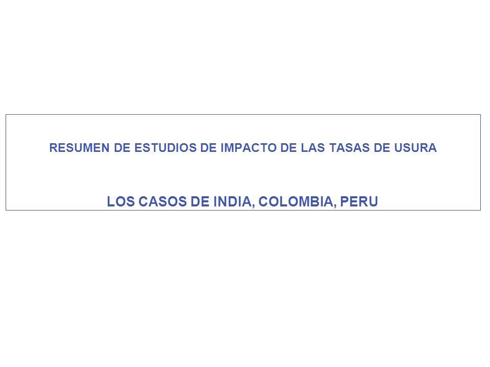 LOS CASOS DE INDIA, COLOMBIA, PERU
