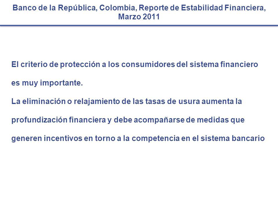 Banco de la República, Colombia, Reporte de Estabilidad Financiera, Marzo 2011