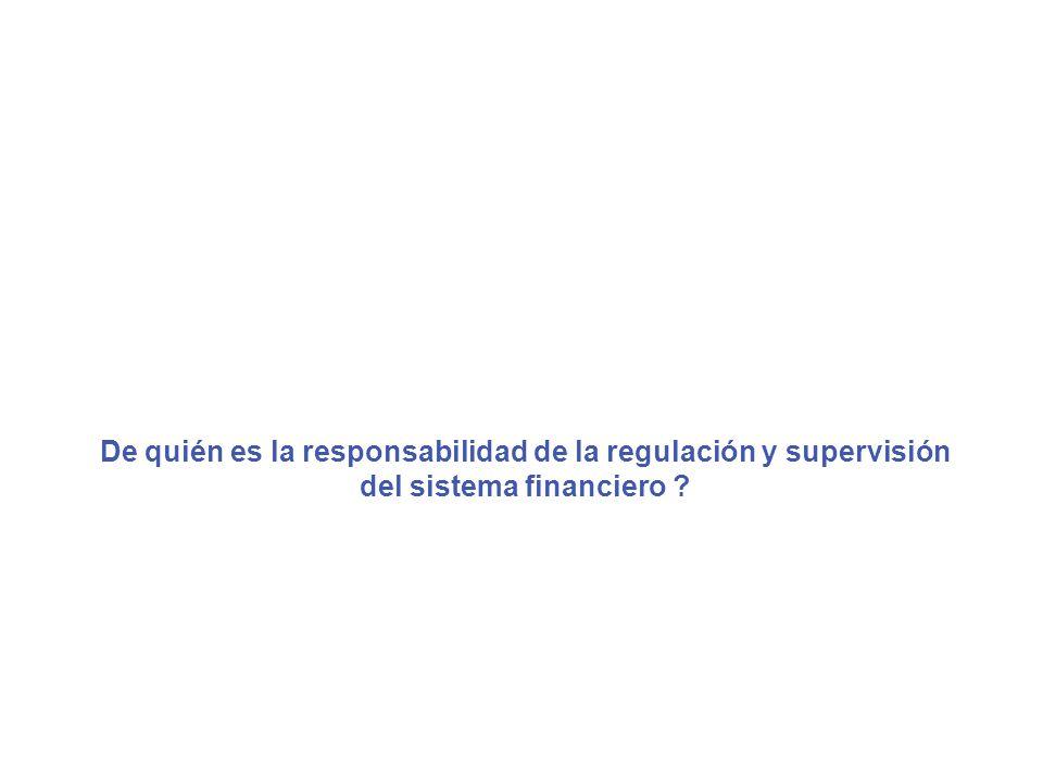De quién es la responsabilidad de la regulación y supervisión del sistema financiero