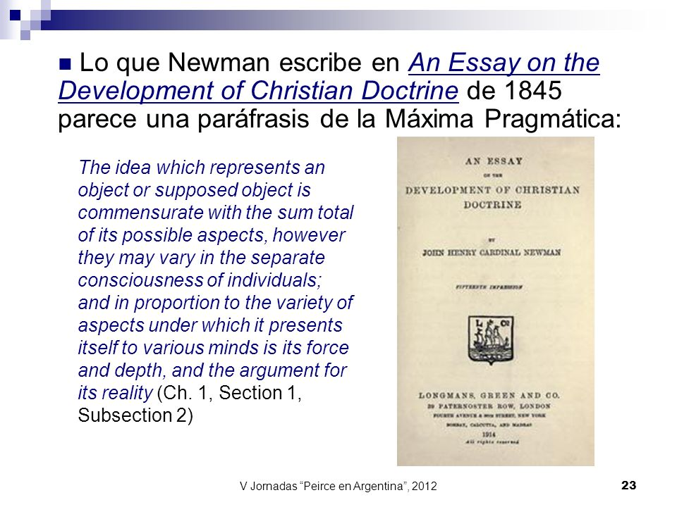 the newman essay John h newman february 23, 1878 top it is maintained in this essay that development of christian doctrine by.
