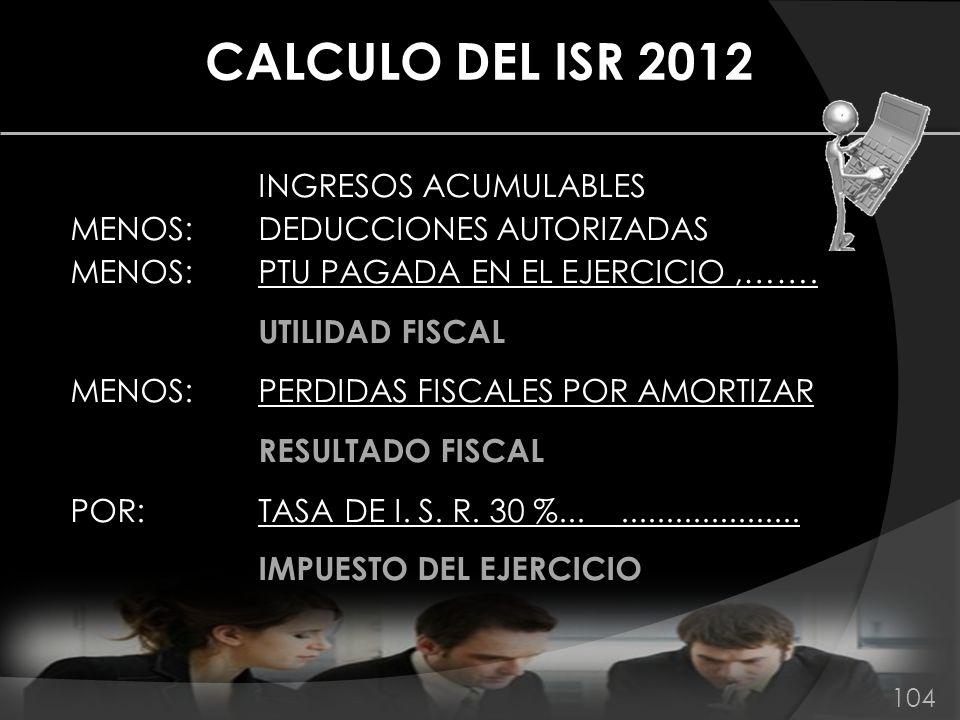 CALCULO DEL ISR 2012 INGRESOS ACUMULABLES